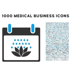 Spa Shower Calendar Day Icon With 1000 Medical vector