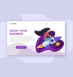 startup booster landing page vector image