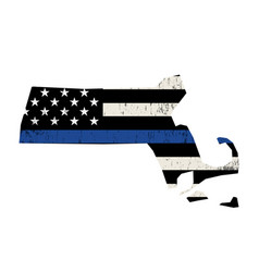 State massachusetts police support flag vector