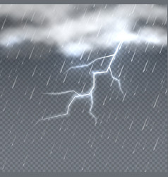 storm and lightning with rain and clouds in sky vector image