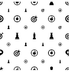 Strategy icons pattern seamless white background vector