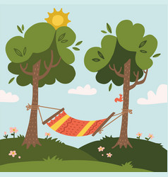 Summer hammock with trees in forest or garden vector