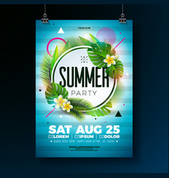 summer party flyer design with tropical vector image