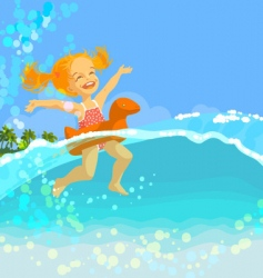 Swimming girl vector