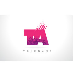 Ta t a letter logo with pink purple color and vector