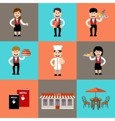 The service personnel in cafe and restaurants vector