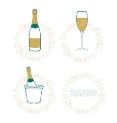The wineglass bottle wine in ice bucket vector