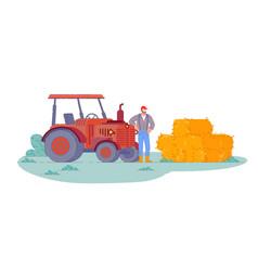 Tractor operator isolated farm field vector