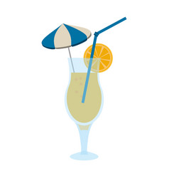 Tropical cocktail with umbrella straw and garnish vector