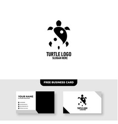 Turtle logo template free business card mockup vector
