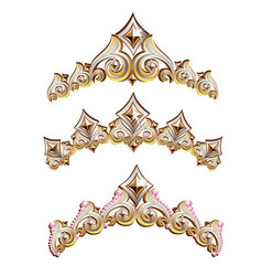 Vintage jewelry diadems set vector