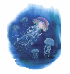 Watercolor Hand drawn jellyfish at Sea vector