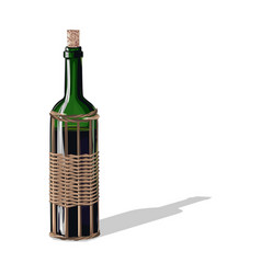 wine bottle with a cork vector image
