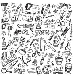 Working tools - doodles set vector