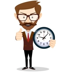 Young businessman holding a clock in office vector image