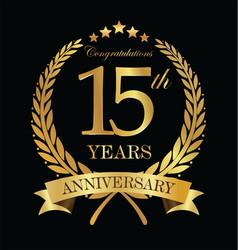 anniversary golden laurel wreath 15 years 4 vector image