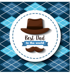 best dad in the world hat mustache ribbon vector image