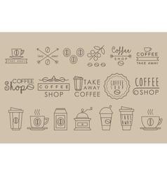 Coffee Set Linear vector image vector image