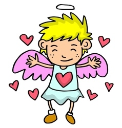 Cupid with yellow hair on love backgrounds vector image