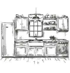 Kitchen interior drawing vector image vector image