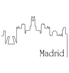 madrid city one line drawing background vector image vector image
