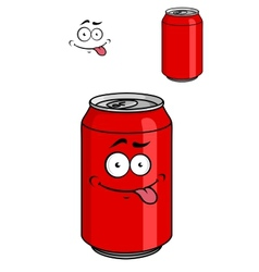 Red soda can with a goofy comical look vector image