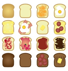 set of toasts vector image