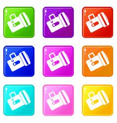 flashlight icons 9 set vector image