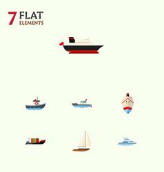 flat icon vessel set of sailboat tanker cargo vector image