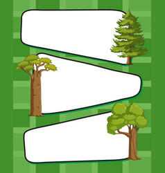 paper template wtih green trees vector image