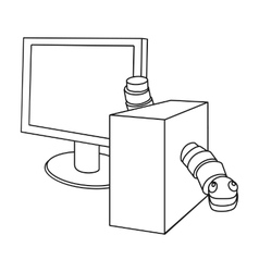Computer worm icon in outline style isolated on vector image