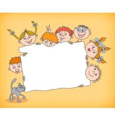 Doodle kids holding blank sign vector image