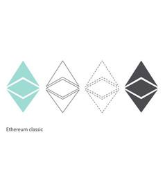 Ethereum classic chrystal set vector