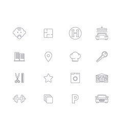 linear icons infrastructure of residential complex vector image