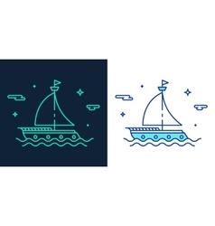 Linear style icon of a boat vector image