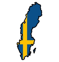 Map in colors of Sweden vector image vector image