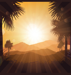 tropical landscape at sunset vector image vector image