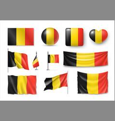 set belgiumn flags banners banners symbols vector image
