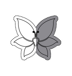 sticker shading silhouette butterfly insect icon vector image