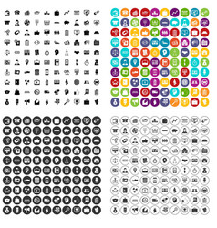 100 business group icons set variant vector image