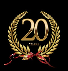 20 years anniversary laurel wreath vector
