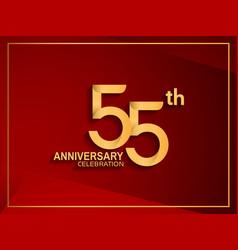 55 anniversary celebration logotype golden color vector