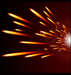 Abstract glowing lines of fire on a dark vector