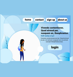 African american school girl chat bubble profile vector
