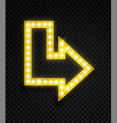 arrow with lamps realistic glowing neon yellow vector image