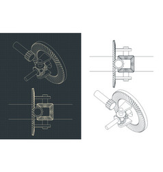Automobile differential drawings vector