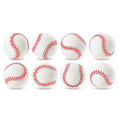 Baseball ball leather white softball with red vector