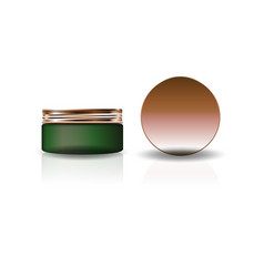 blank green cosmetic round jar with copper lid vector image