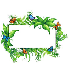 border template with butterflies and leaves vector image