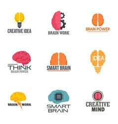 brain idea logo set flat style vector image